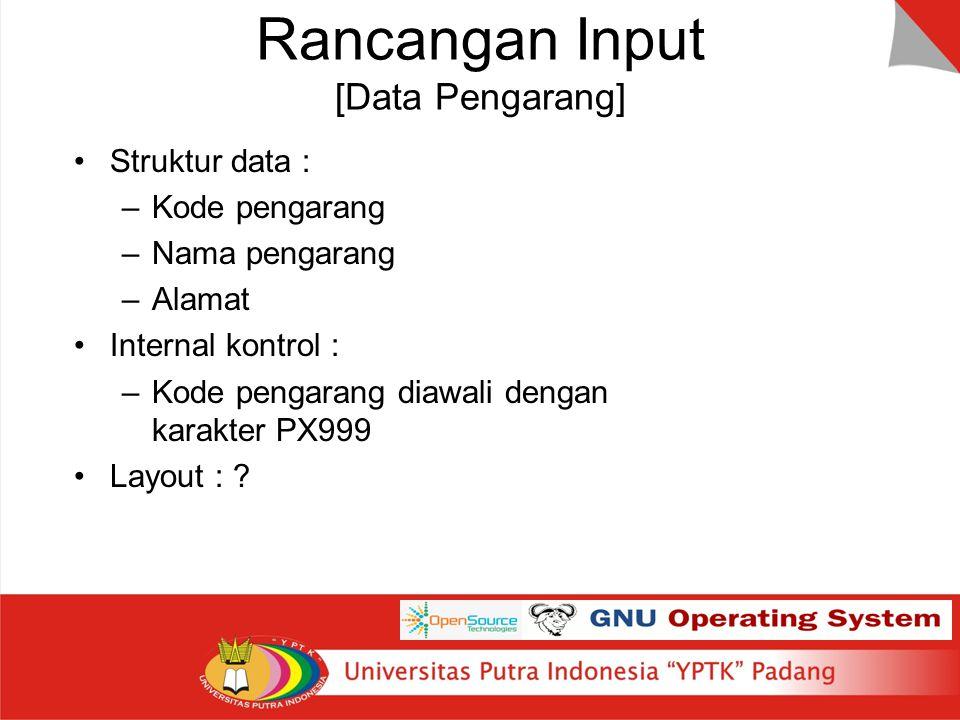 Rancangan Input [Data Pengarang]